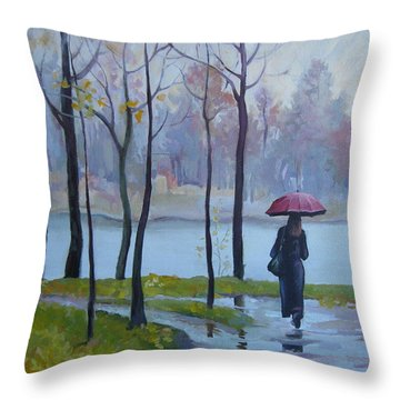 Throw Pillow featuring the painting Walking In The Rain by Elena Oleniuc