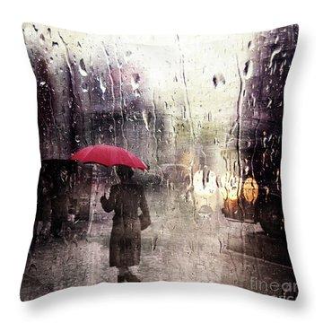 Walking In The Rain Somewhere Throw Pillow