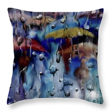 Throw Pillow featuring the digital art Walking In The Rainfall by Darren Cannell