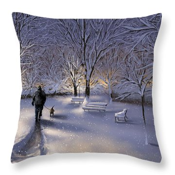 Throw Pillow featuring the painting Walking In The Snow by Veronica Minozzi