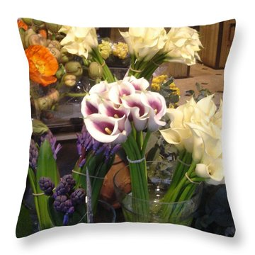 Walking In The Streets Of Paris. Flowers In Montparnasse  Throw Pillow