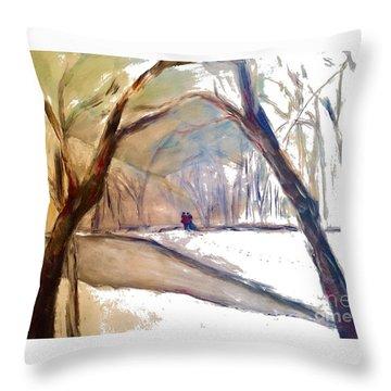 Walking In White Throw Pillow