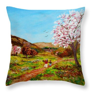 Walking Into The Springfields Throw Pillow by Constantinos Charalampopoulos