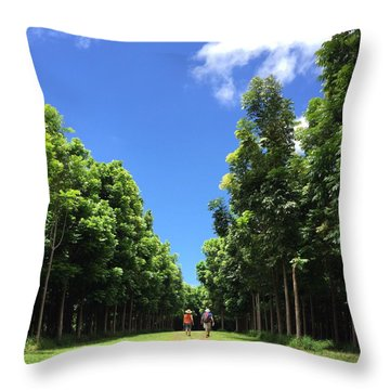 Walking Into The Woods Throw Pillow