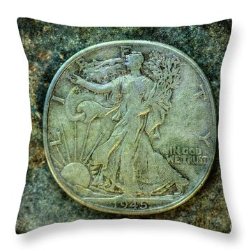 Throw Pillow featuring the digital art Walking Liberty Half Dollar Obverse by Randy Steele