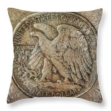 Throw Pillow featuring the digital art Walking Libery Half Dollar Reverse by Randy Steele