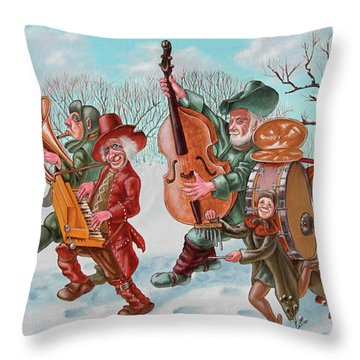 Walking Musicians Throw Pillow