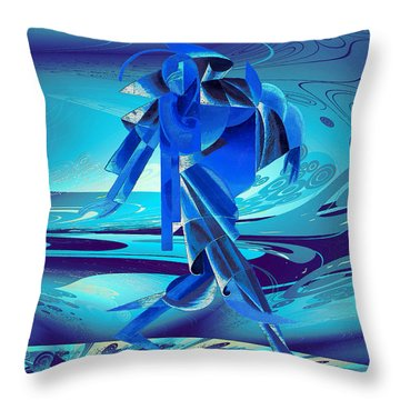 Walking On A Stormy Beach Throw Pillow