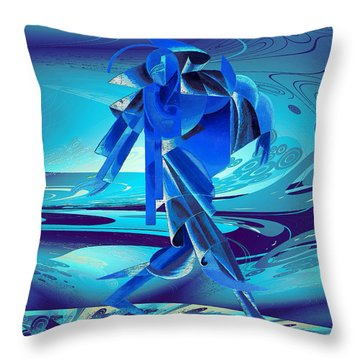 Throw Pillow featuring the digital art Walking On A Stormy Beach by Robert G Kernodle