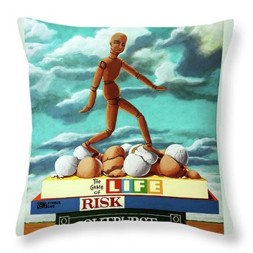 Walking On Eggshells Imaginative Realistic Painting Throw Pillow