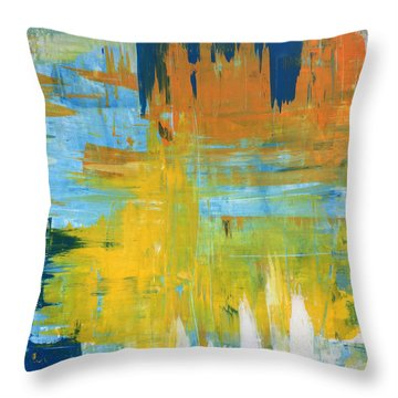 Walking On Sunshine - 48x48 Huge Original Painting Art Abstract Artist Throw Pillow