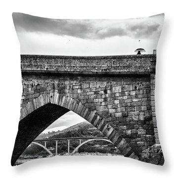 Walking On The Roman Bridge Throw Pillow