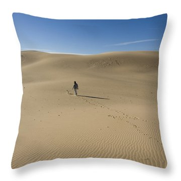 Walking On The Sand Throw Pillow by Tara Lynn