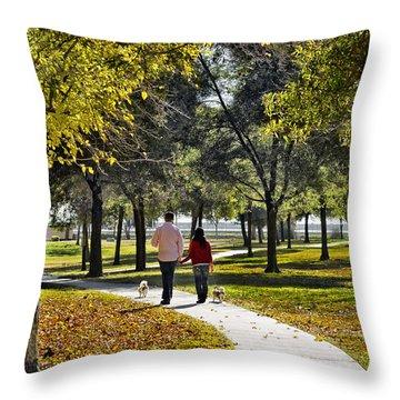 Walking Park Throw Pillow