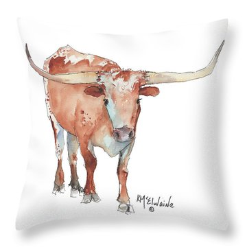 Walking Tall Texas Longhorn Watercolor And Ink By Kmcelwaine Throw Pillow
