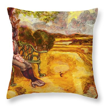 Walking The Dog After Gainsborough Throw Pillow