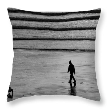 Throw Pillow featuring the photograph Walking The Dog At Marazion by Brian Roscorla