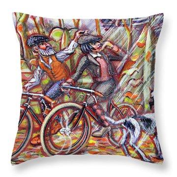 Walking The Dog 2 Throw Pillow by Mark Jones