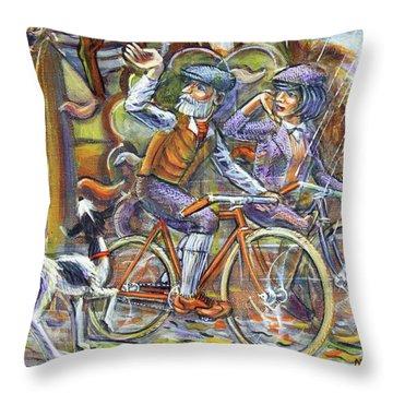 Walking The Dog 3 Throw Pillow by Mark Jones
