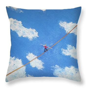 Walking The Line Throw Pillow by Thomas Blood