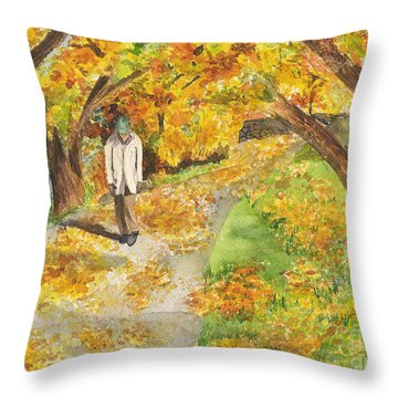 Walking The Truckee River Throw Pillow by Vicki  Housel