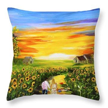 Walking Through The Sunflowers Throw Pillow