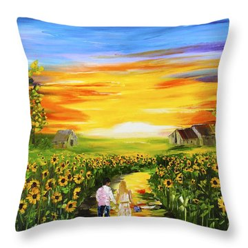 Walking Through The Sunflowers Throw Pillow