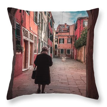 Walking Through Time - Venice, Italy Throw Pillow