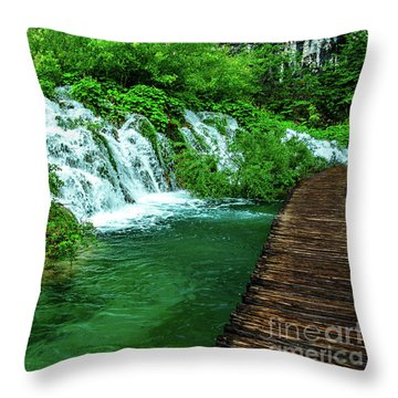 Walking Through Waterfalls - Plitvice Lakes National Park, Croatia Throw Pillow