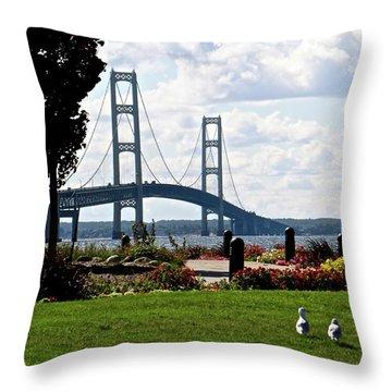 Walking To The Bridge Throw Pillow