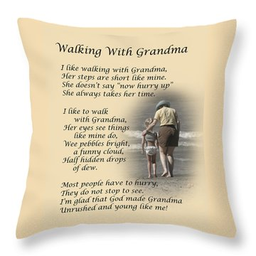 Walking With Grandma Throw Pillow