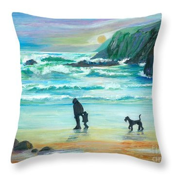 Walking With Grandpa - Painting Throw Pillow