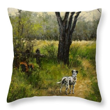 Walking With My Farley Throw Pillow