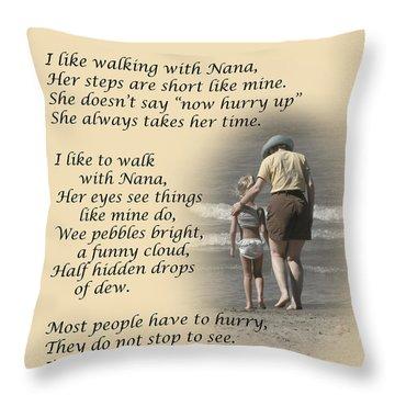 Walking With Nana Throw Pillow