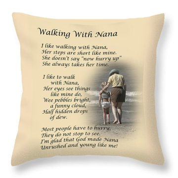 Walking With Nana Throw Pillow
