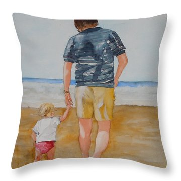 Walking With Pops Throw Pillow by Jean Blackmer