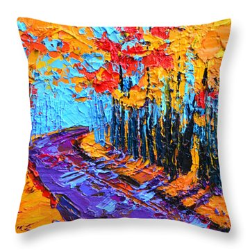 Throw Pillow featuring the painting Walking Within - Enchanted Forest Collection - Modern Impressionist Landscape Art - Palette Knife by Patricia Awapara