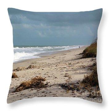 Walks On The Beach Throw Pillow