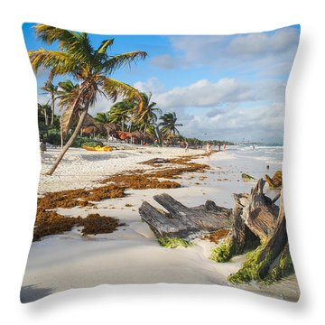 Walks On Tulum Beach Throw Pillow