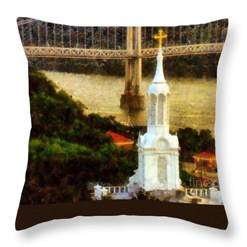 Walkway Over The Hudson - Our Lady Of Mount Carmel Church Steeple Throw Pillow