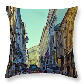Throw Pillow featuring the photograph Walkway Over The Street - Lisbon by Mary Machare