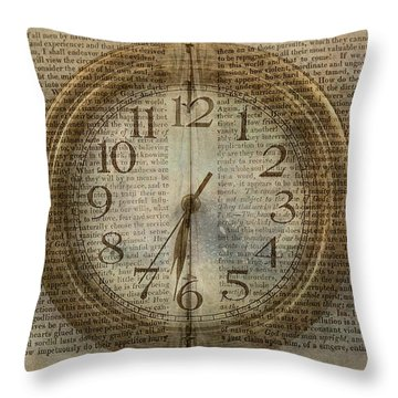 Throw Pillow featuring the digital art Wall Clock And Book Double Exposure by Randy Steele