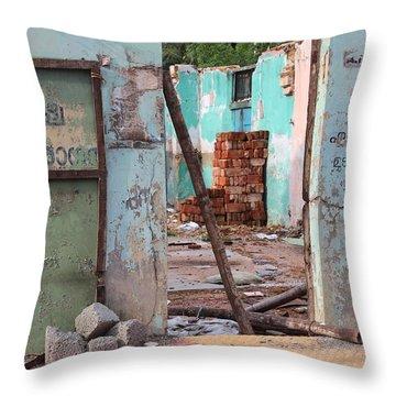Wall, Door, Open Space In Kochi Throw Pillow by Jennifer Mazzucco