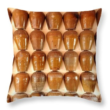 Throw Pillow featuring the photograph Wall Of Ceramic Jugs by Yali Shi