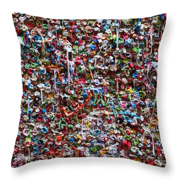 Wall Of Chewing Gum Seattle Throw Pillow by Garry Gay