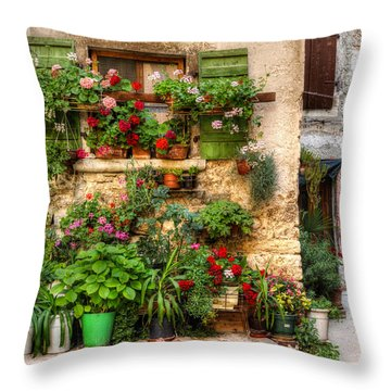 Wall Of Flowers Throw Pillow