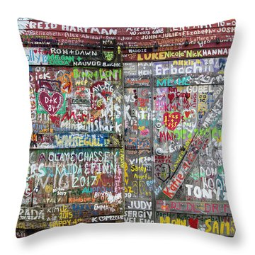 Throw Pillow featuring the photograph Wall Of Love by Joel Witmeyer