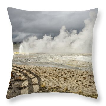 Throw Pillow featuring the photograph Wall Of Steam by Sue Smith