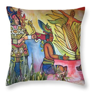 Wall Painting In A Mexican Village Throw Pillow