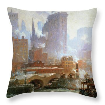 Wall Street Ferry Ship Throw Pillow by Colin Campbell Cooper